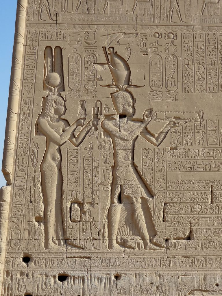 Cleopatra VII and her son at Temple of Hathor, Dendera